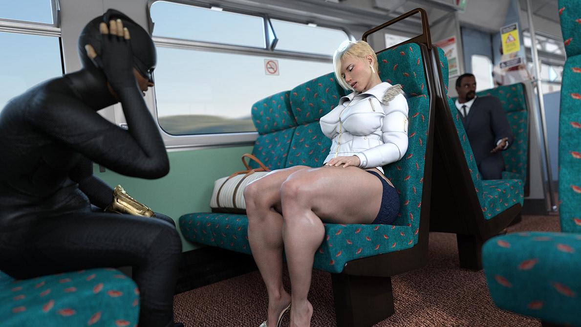 Luscious 3D babe with big tits - Scarjo/Train by ZZ2Tommy