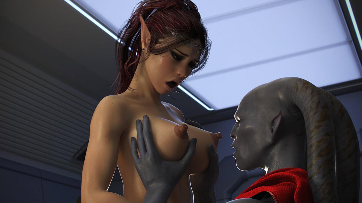 Elven Desires Distress Signal 2: Giant ribbed alien cock