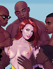 Gangbang interracial: Many bbc for all holes