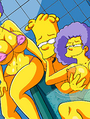 The Simptoons In the bathtub with the aunts: Handjob in the bathtub is the best thing
