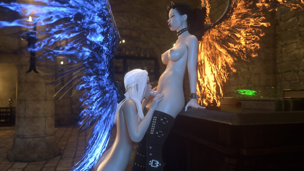 Fantasy babes lets out an orgasmic moans - Angel and Demon Power of love by Lanasy Kroft