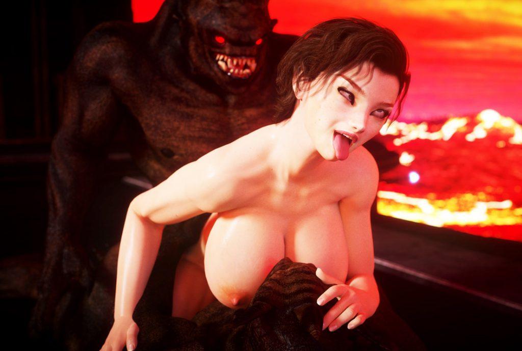 Fuck with mythical monster cock - Doom girl by Vaesark