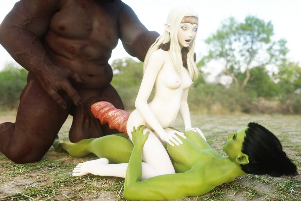 Two nasty nymphos with huge cock - Lena and Syx by Vaesark