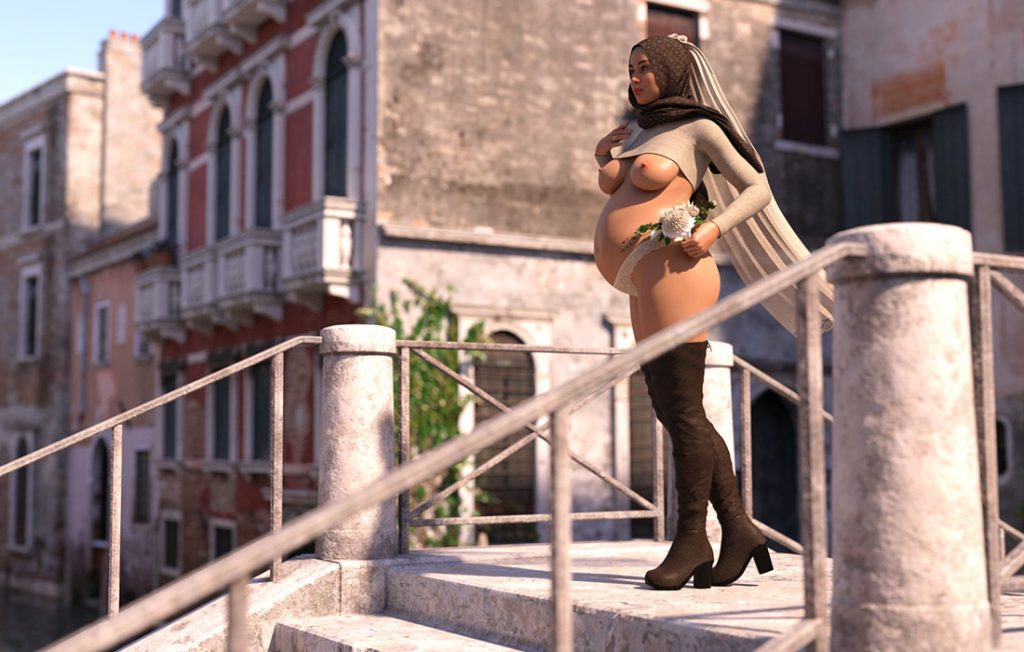 Sexy beauty in pregnancy - CGI porn by Losekontrol (Hijab 3DX)